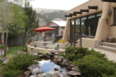 Side patio with water feature