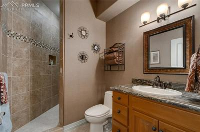 Walk-in shower and granite countertops in the second bathroom downstairs~