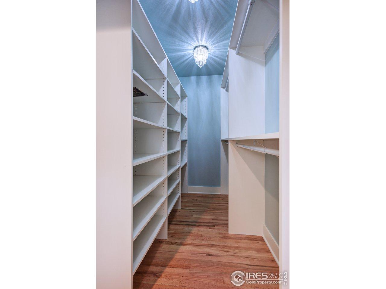 Custom built walk-in closet in master