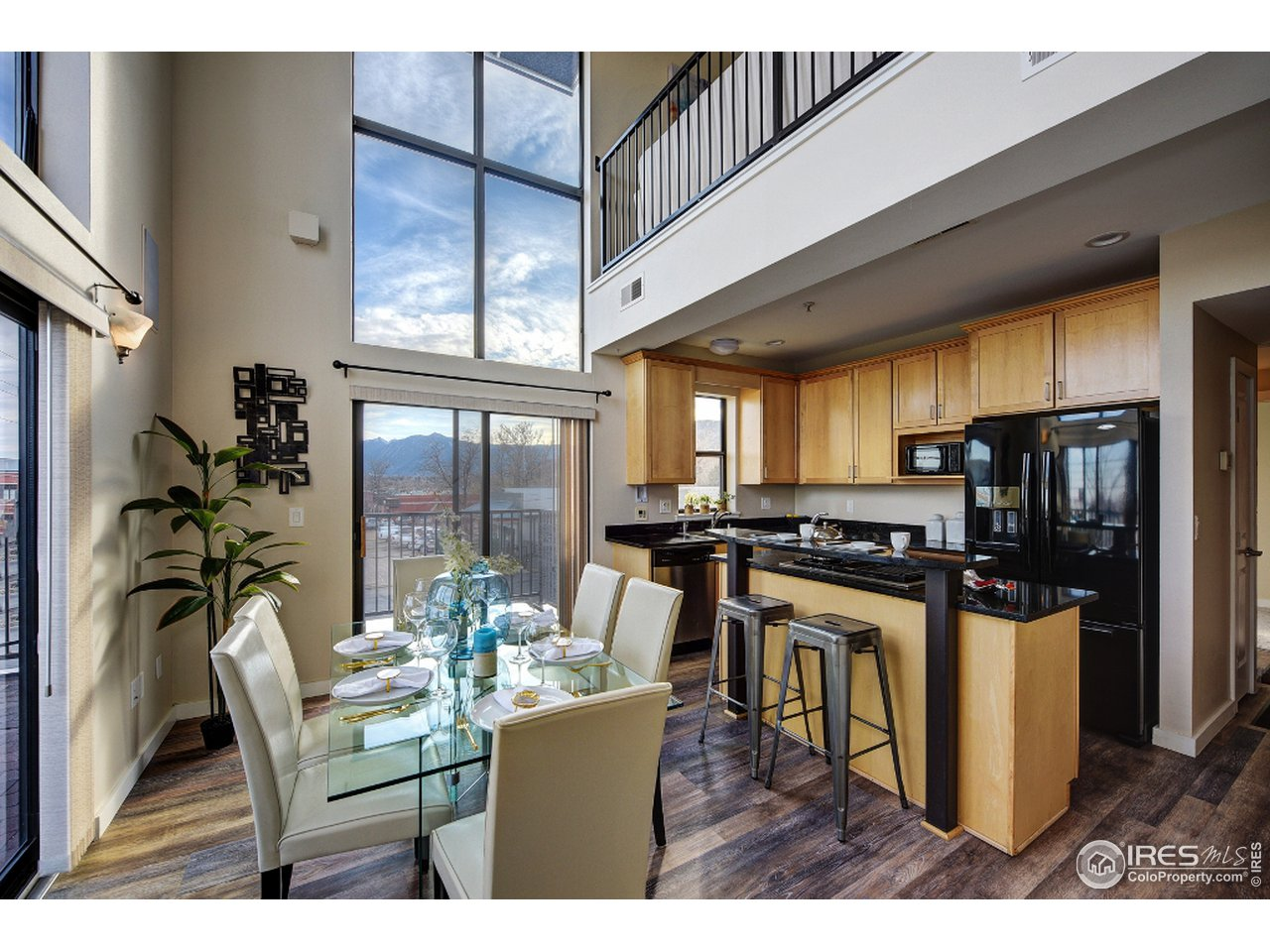 Dining area with floor to ceiling windows