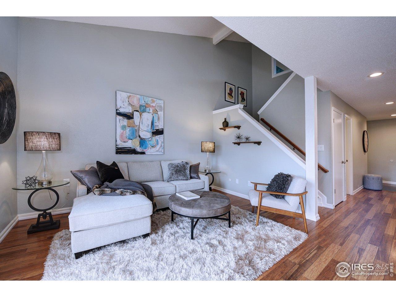 Vaulted ceilings in living room