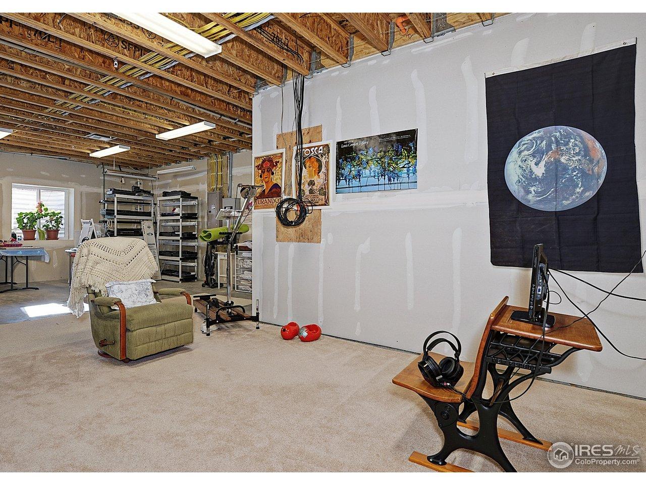 Unfinished basement area