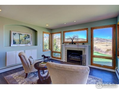 Gas fireplace and views