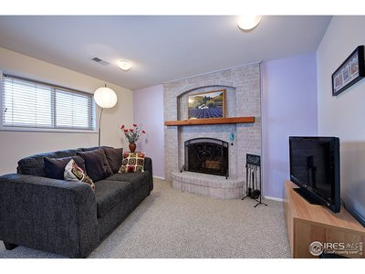 Family room with S. facing window & fire place