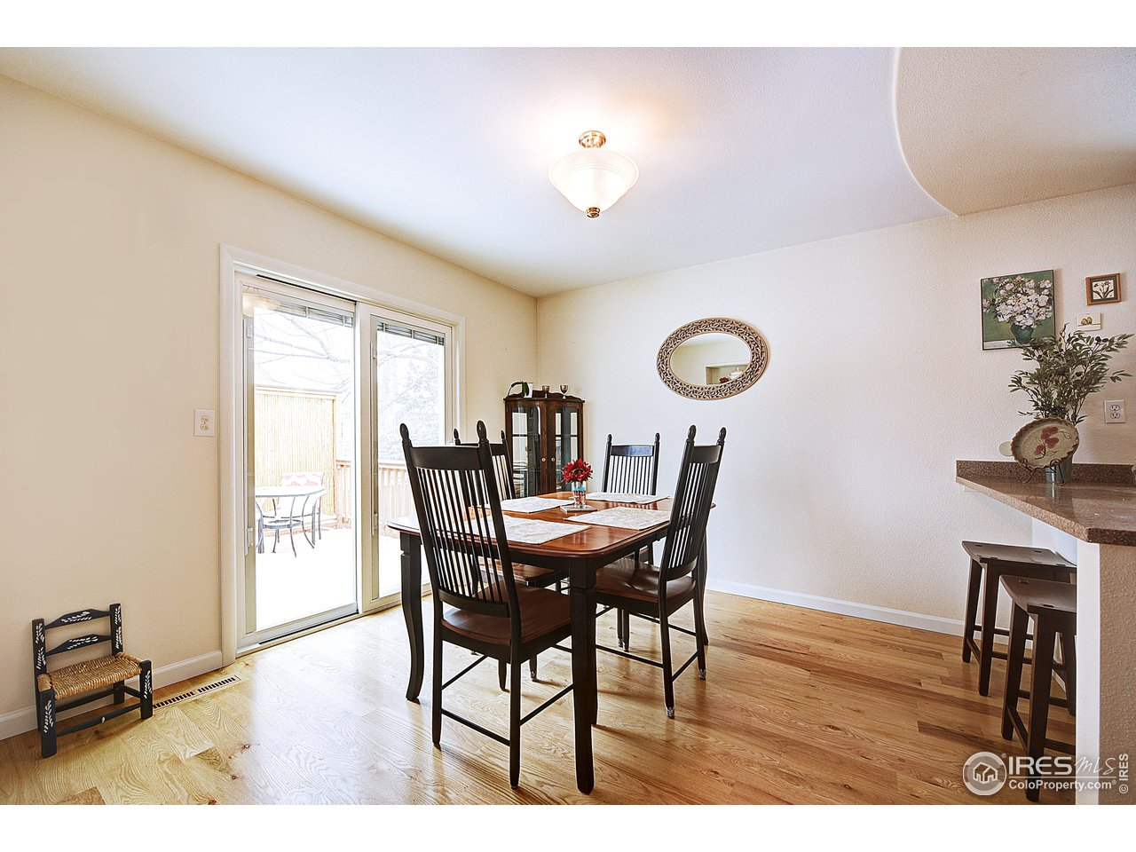 Dining room with sliding door to back deck