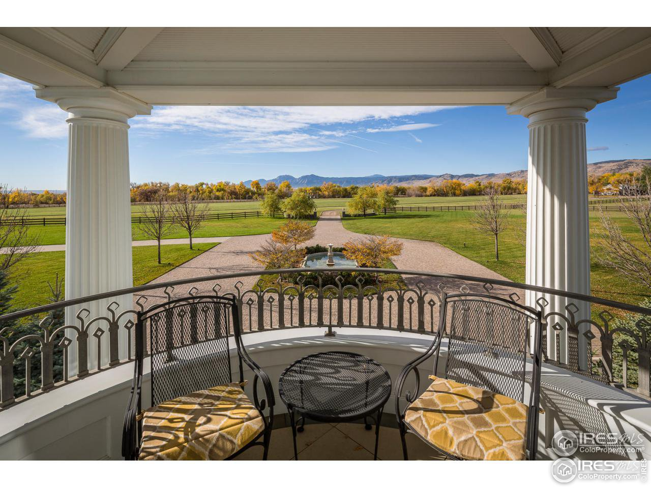 Outdoor entertaining on western patio with foothill views.