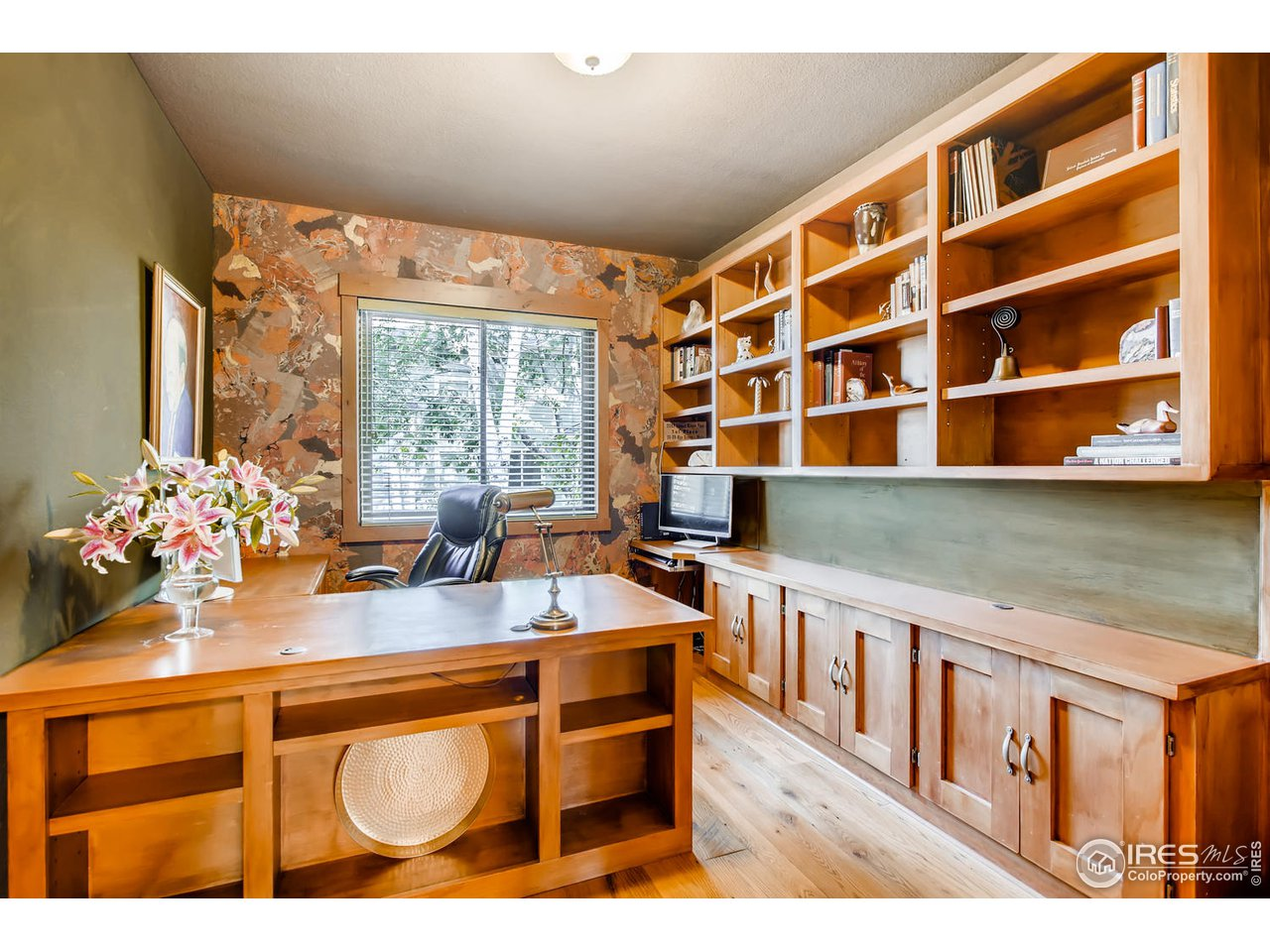 main level office with custom built-ins