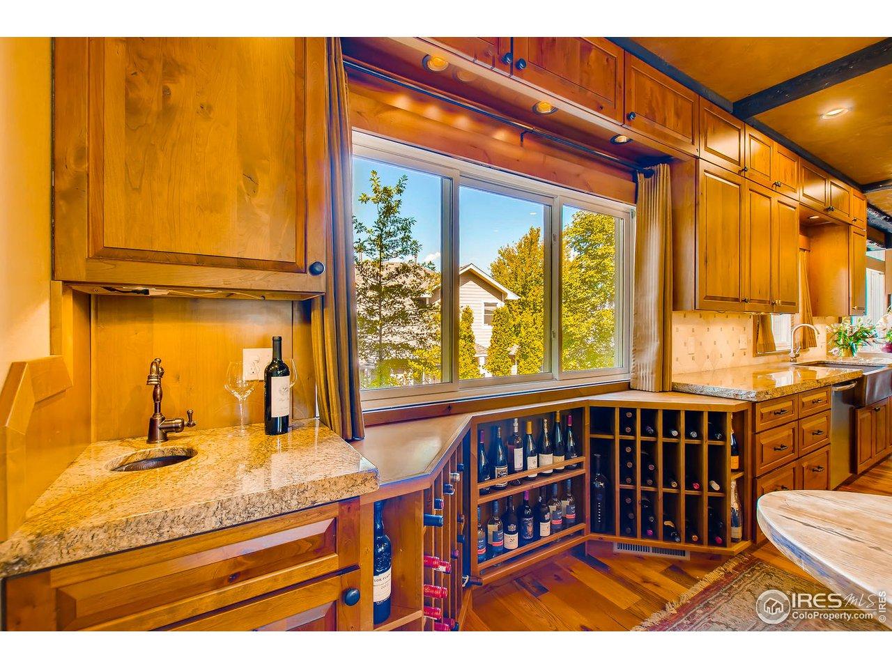 wet bar and custom wine storage
