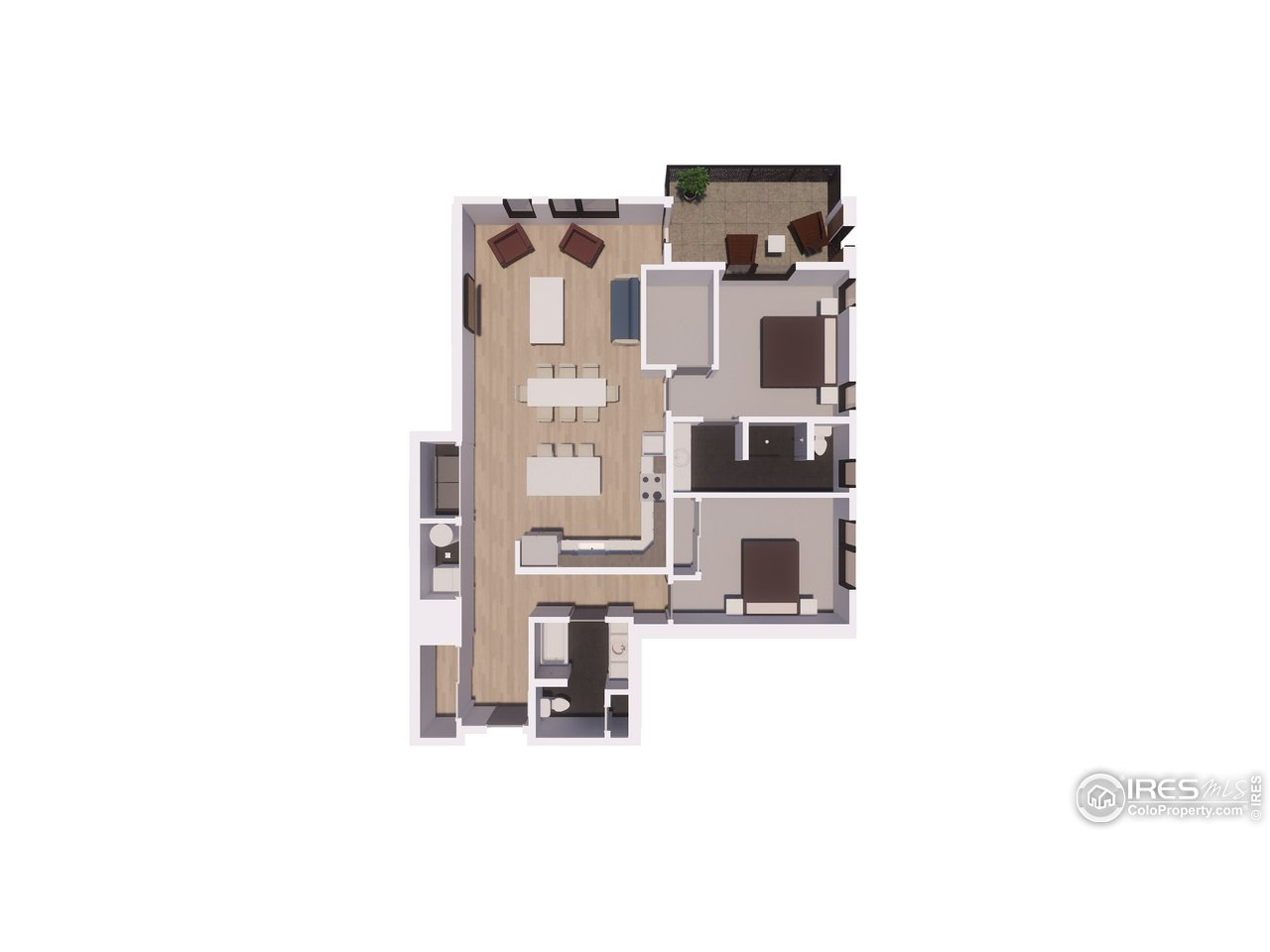 2 Bedroom/ 2 Bathroom Floor Plan