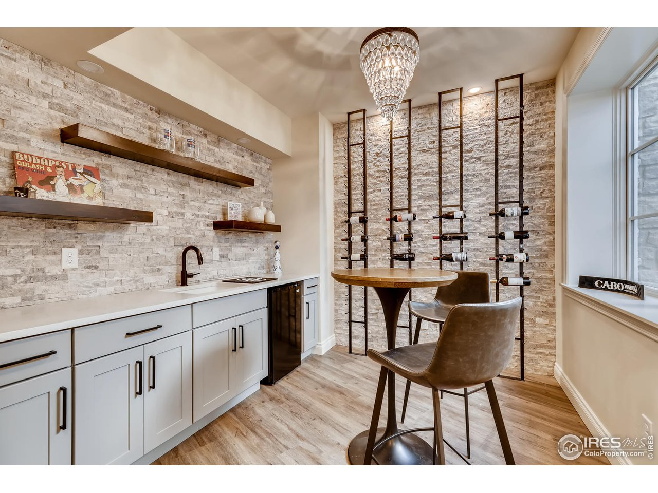Basement Wet Bar and Wine Wall