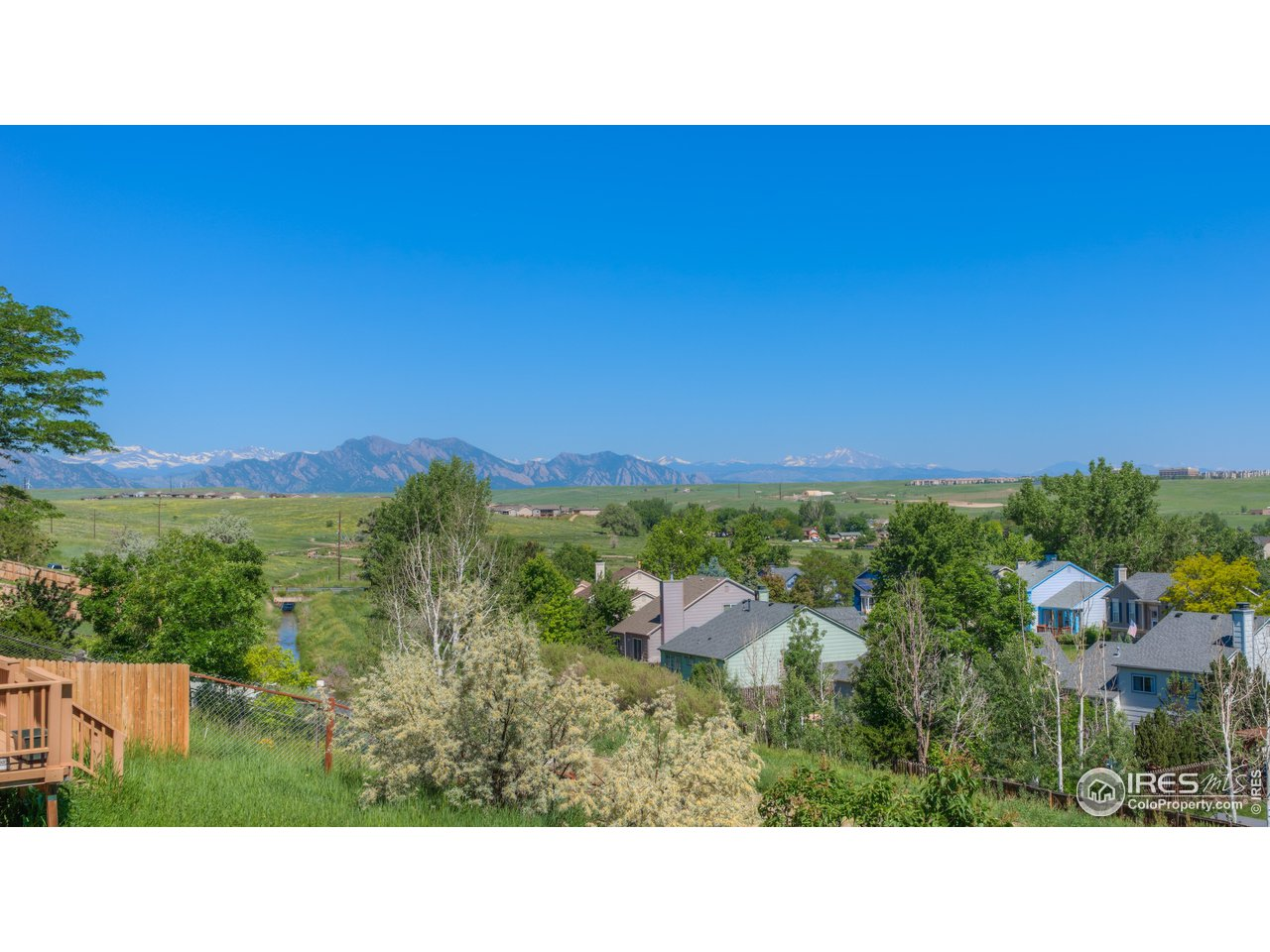 Across back yard- foothills and continental divide views on a clear day in spring