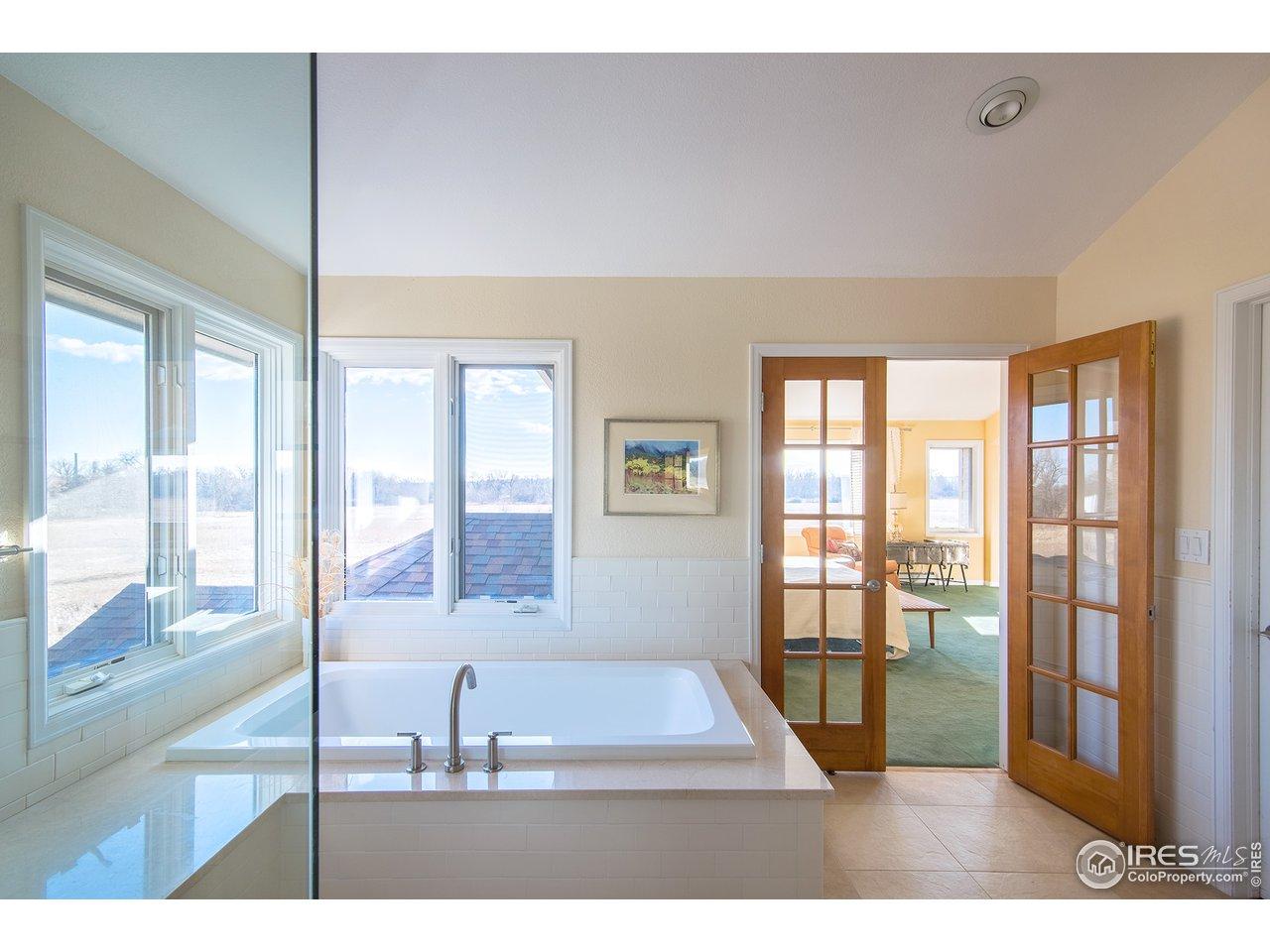 steam shower/soaking tub & heated floors!