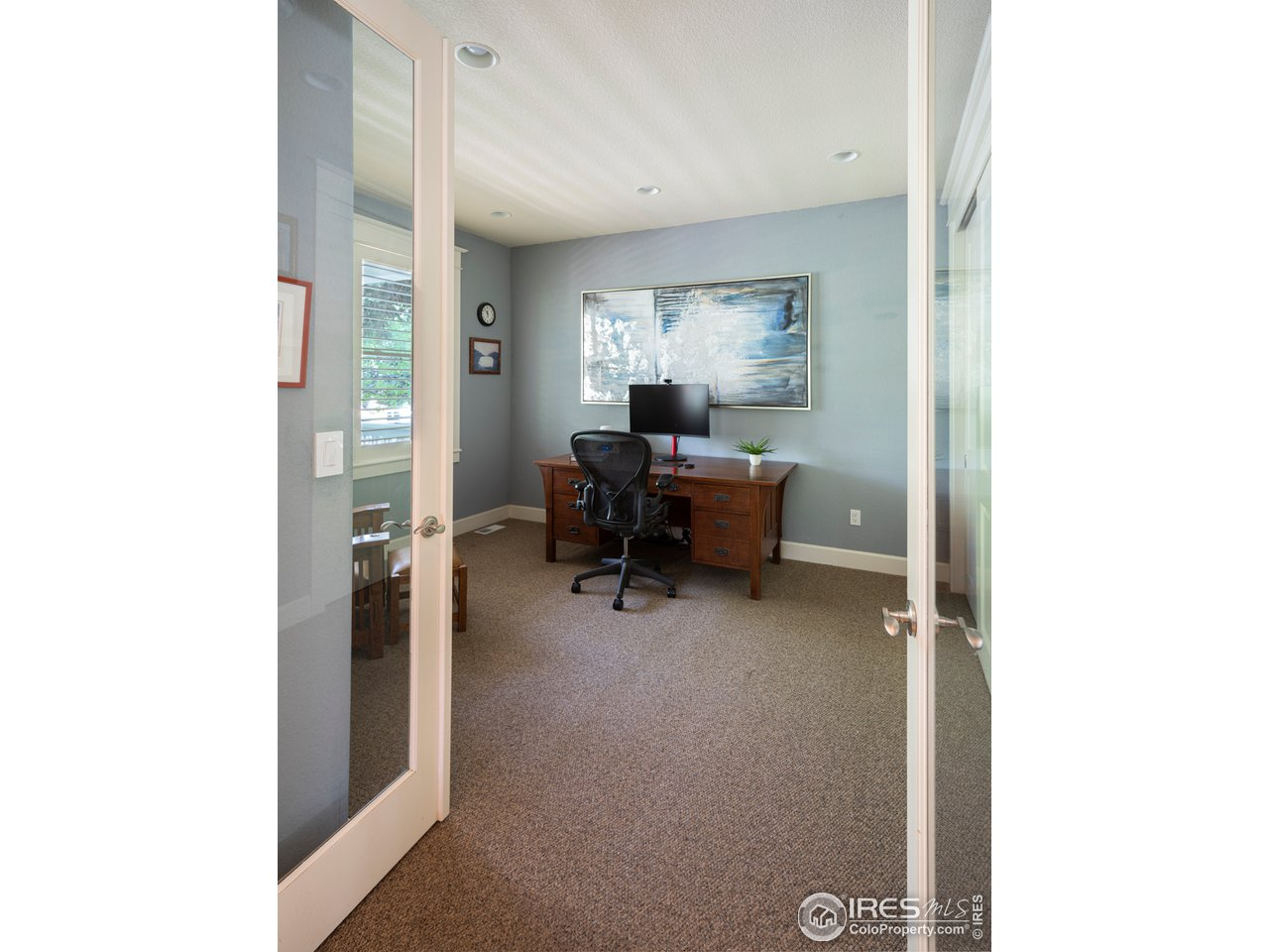Main level office with French doors