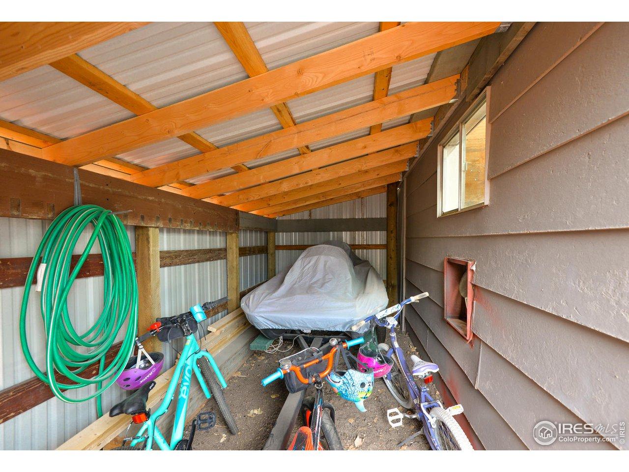Covered Storage Behind Garage