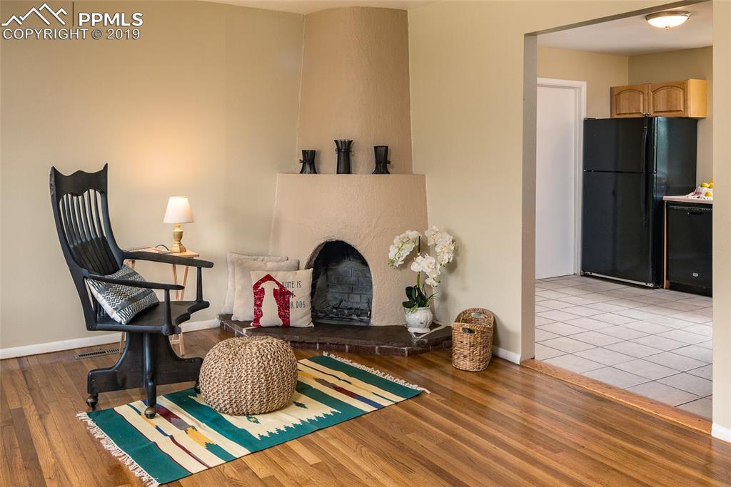 Southwestern style wood fireplace