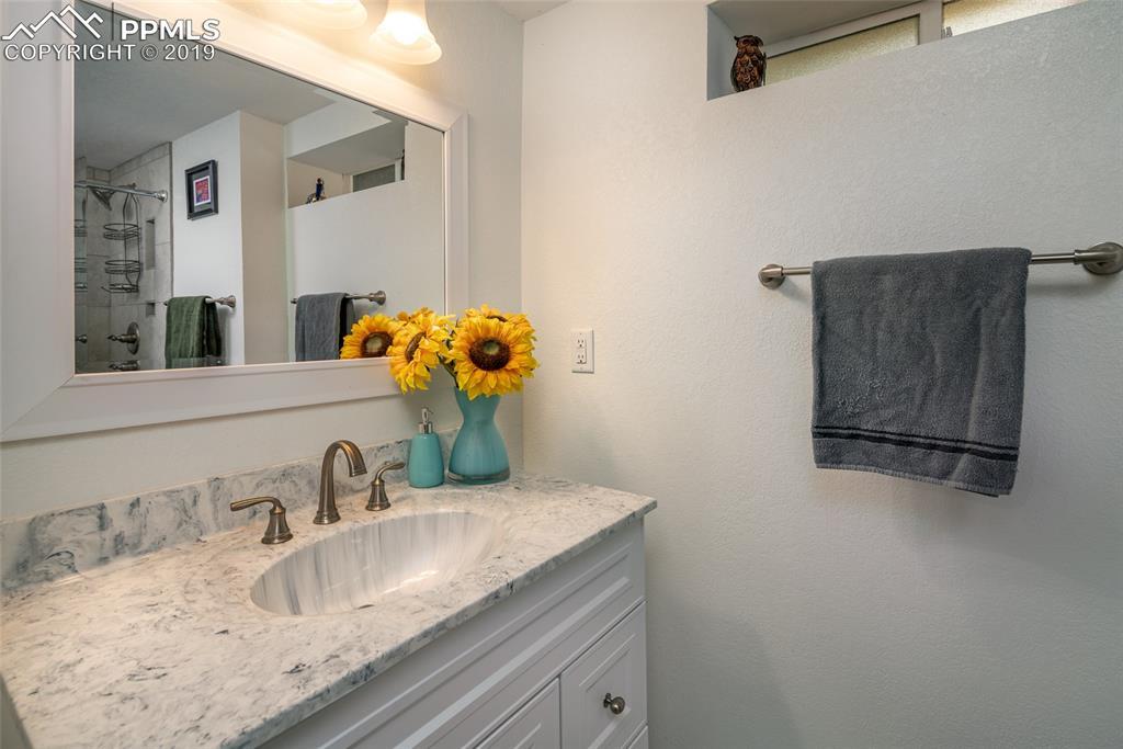 Bright and clean basement bathroom