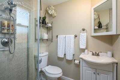 Bright clean master bathroom.