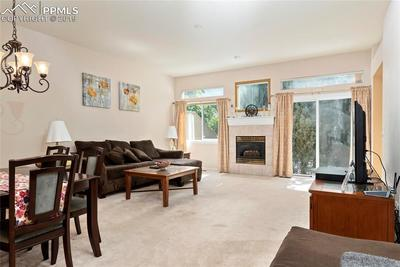 Large living, dining room with access to a rear patio.