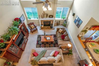 Family room from the upper level cat walk