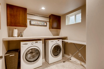 Laundry w/ cabinets and folding counter