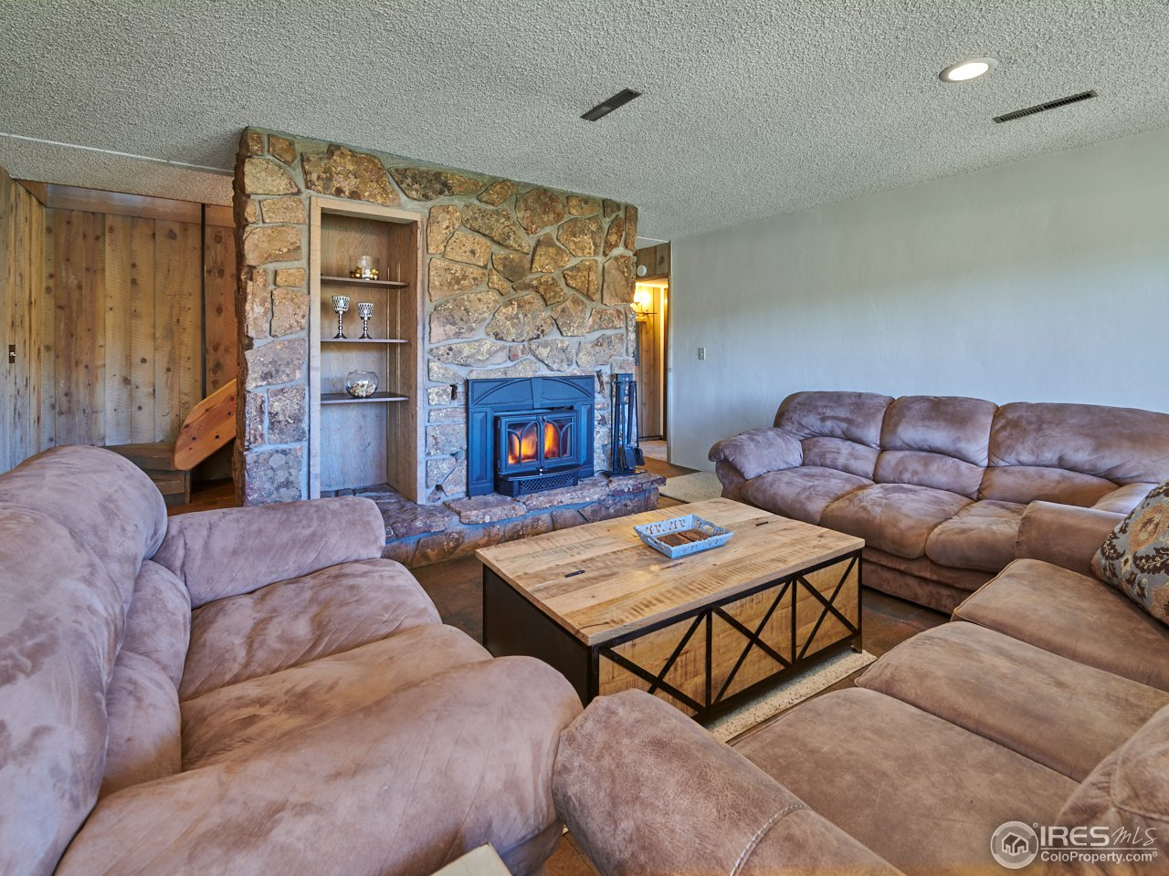 Family room with wood fireplace