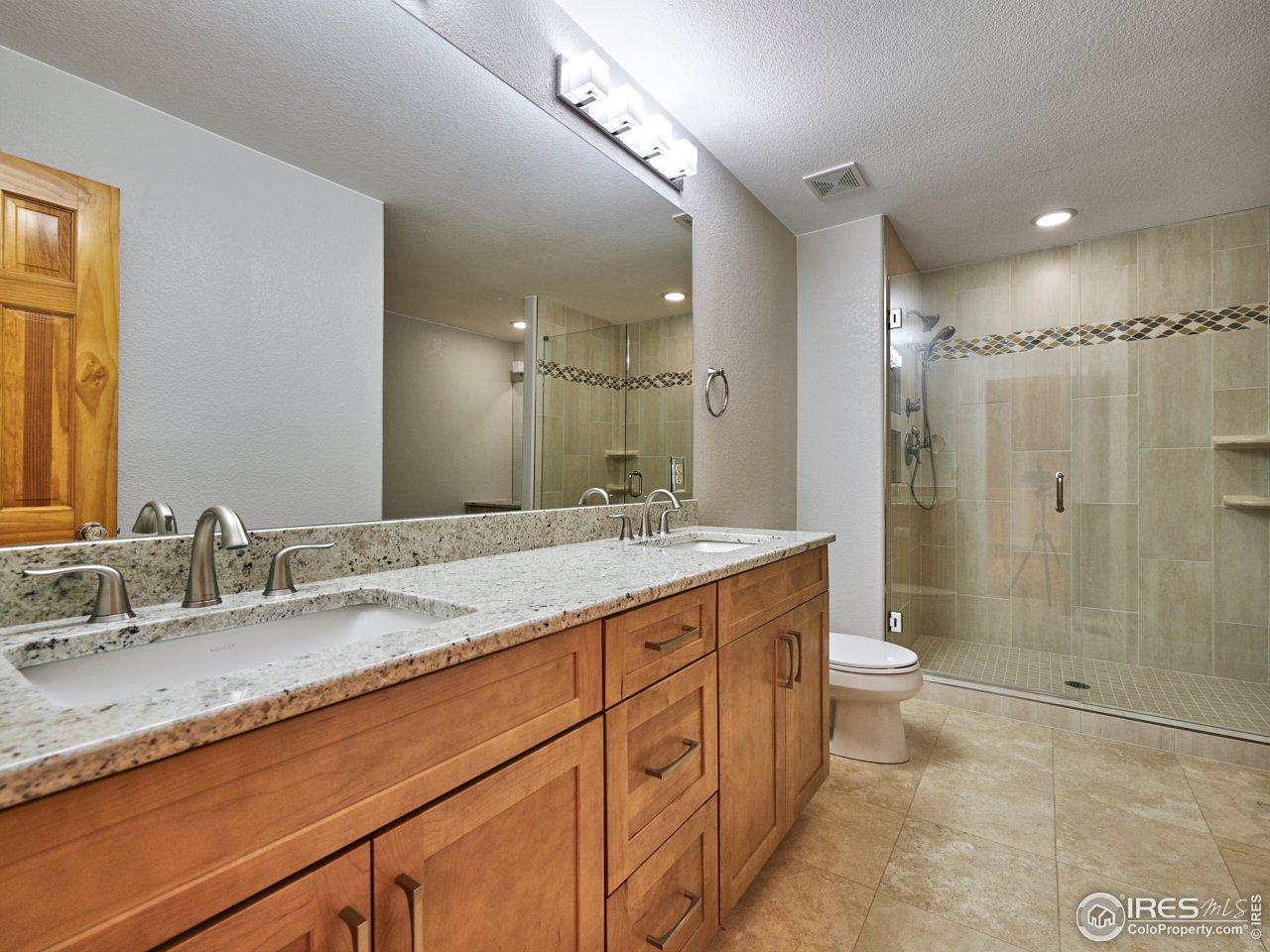 Master Bathroom Double Sinks and Granite