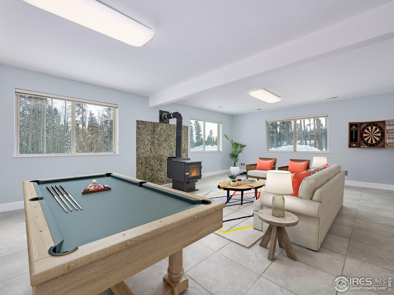 Lower level bonus space/game room