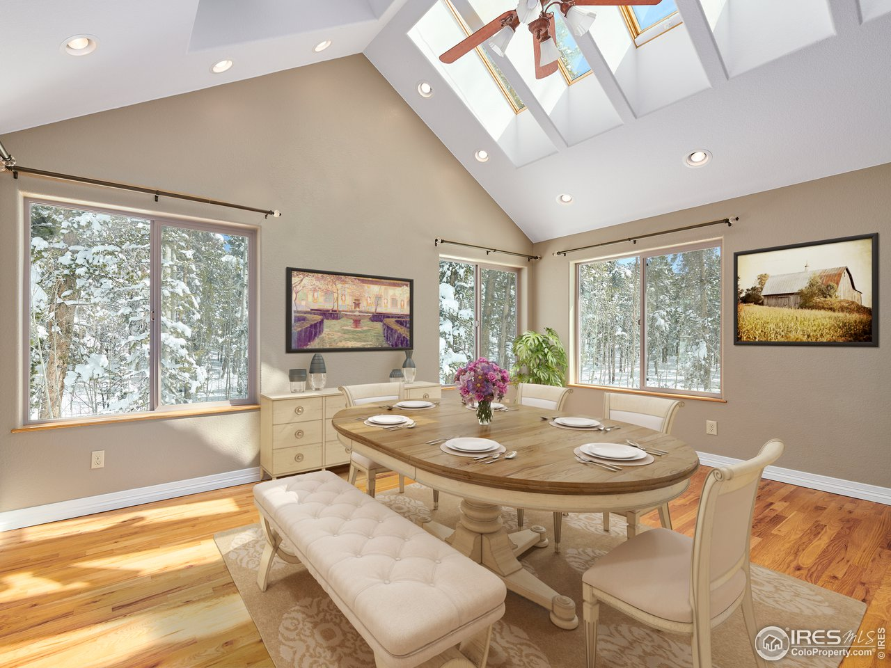 Natural light filled dining room