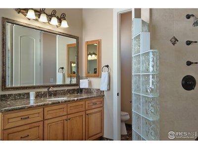 Walk-In Shower & Separate Vanities in Master Bath