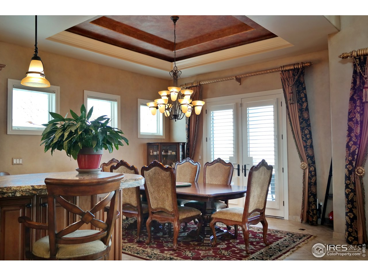 Inviting Dining Space w/Custom Coffered Ceiling