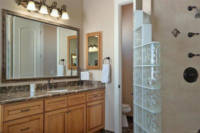 Walk-In Shower & Separate Vanities in Master Bath
