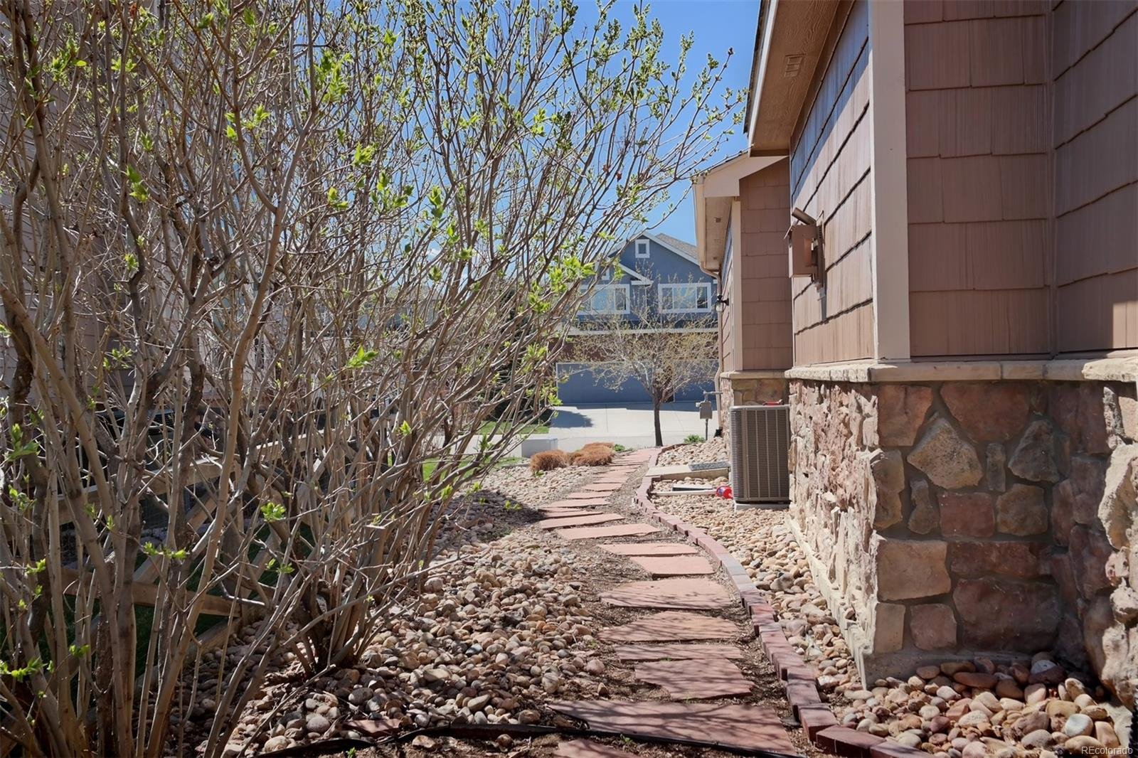 Attractive Stone Walkway on South Side of Home