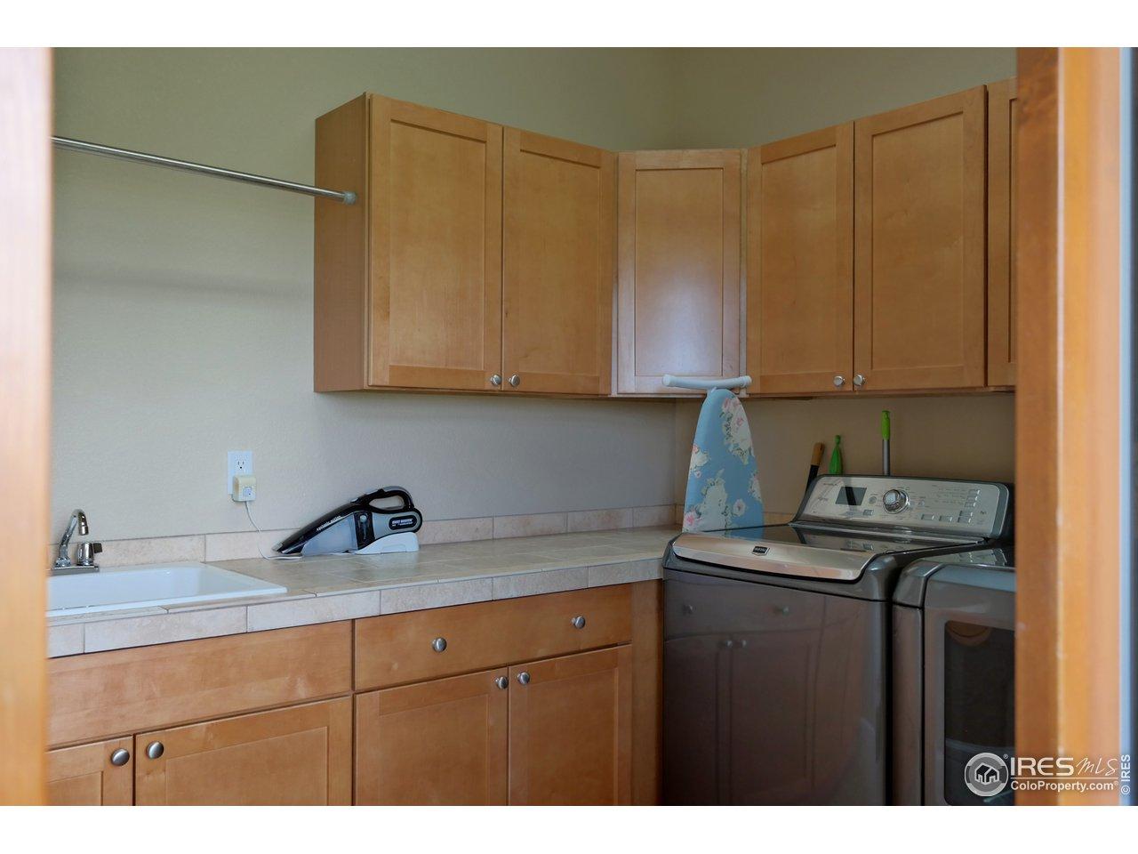 Upper Laundry Room w/Storage & Deep Sink