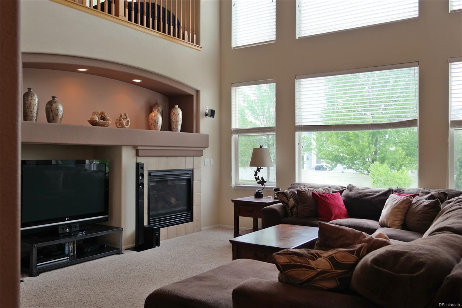 Gas Fireplace & Wall of Windows