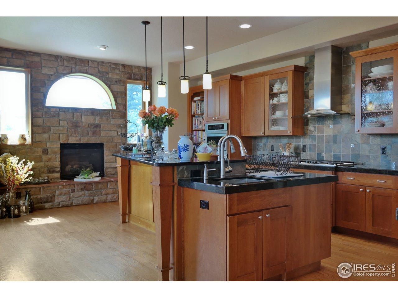 Stylish Gas Fireplace in Kitchen