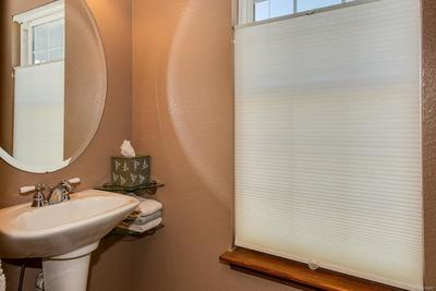 Powder room with privacy window
