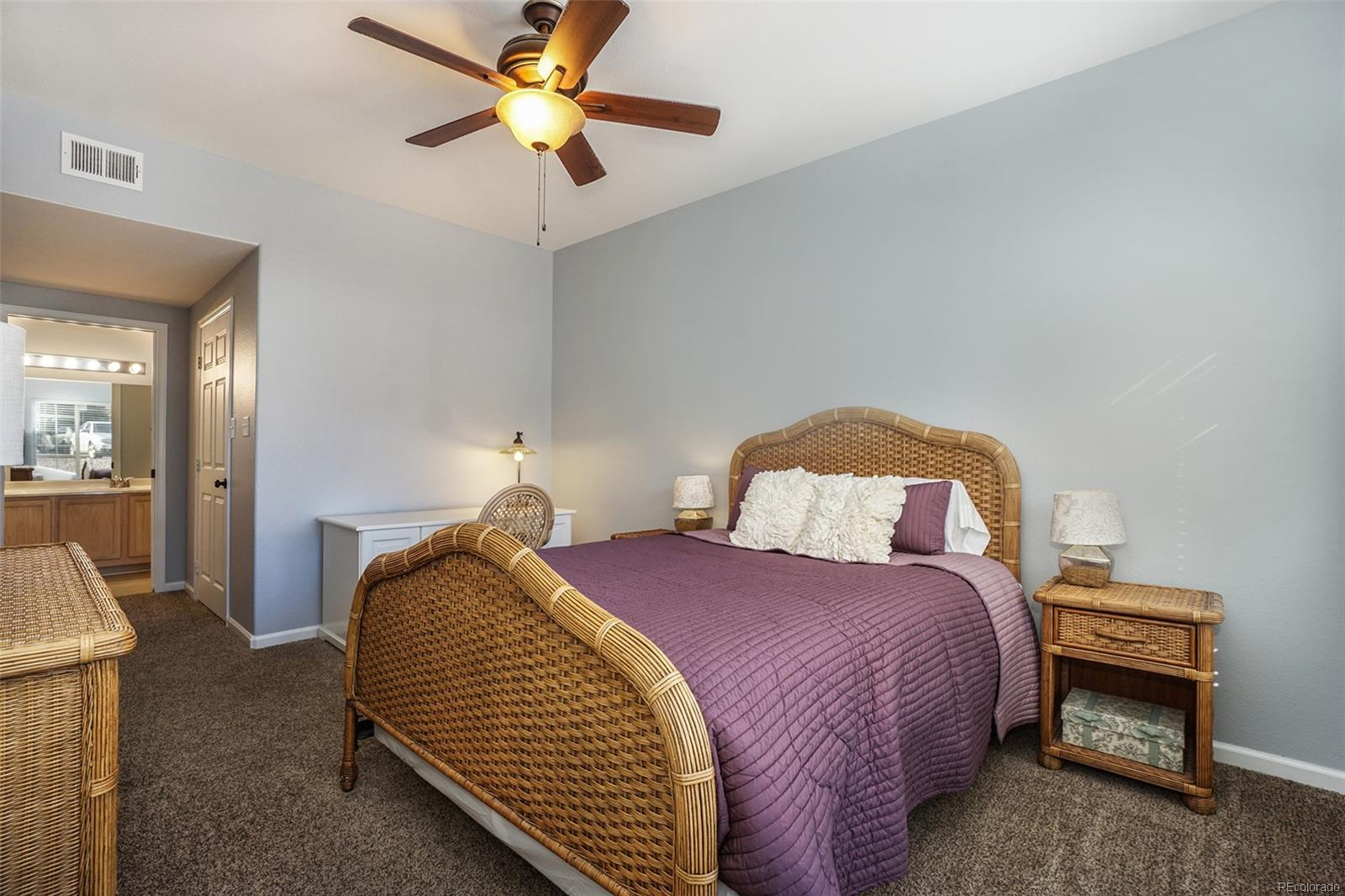 Master bedroom with new carpet & paint!