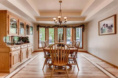 The large formal dining room is complete with tray ceiling and additional wood i