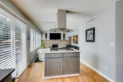 The gas stove and vent are a wonderful showcase piece in the kitchen. You can be cooking and still be part of the household conversations and energy.