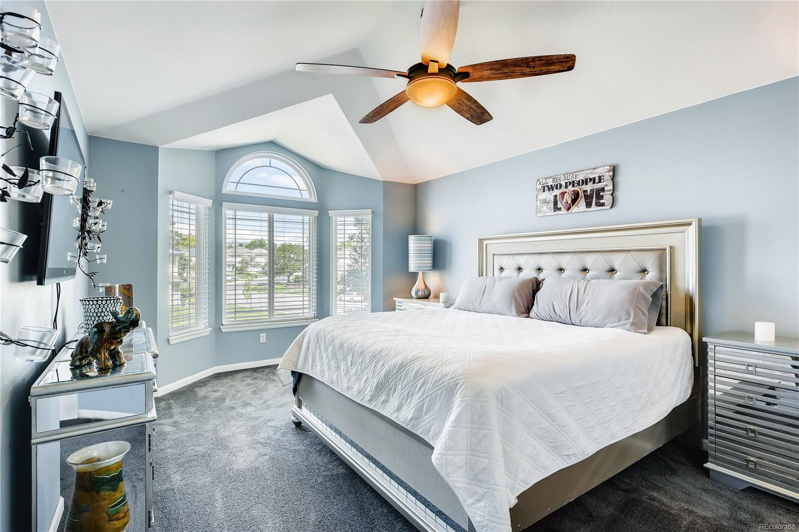The master bedroom is a retreat from it all. The vaulted ceilings give it a luxurious feel.