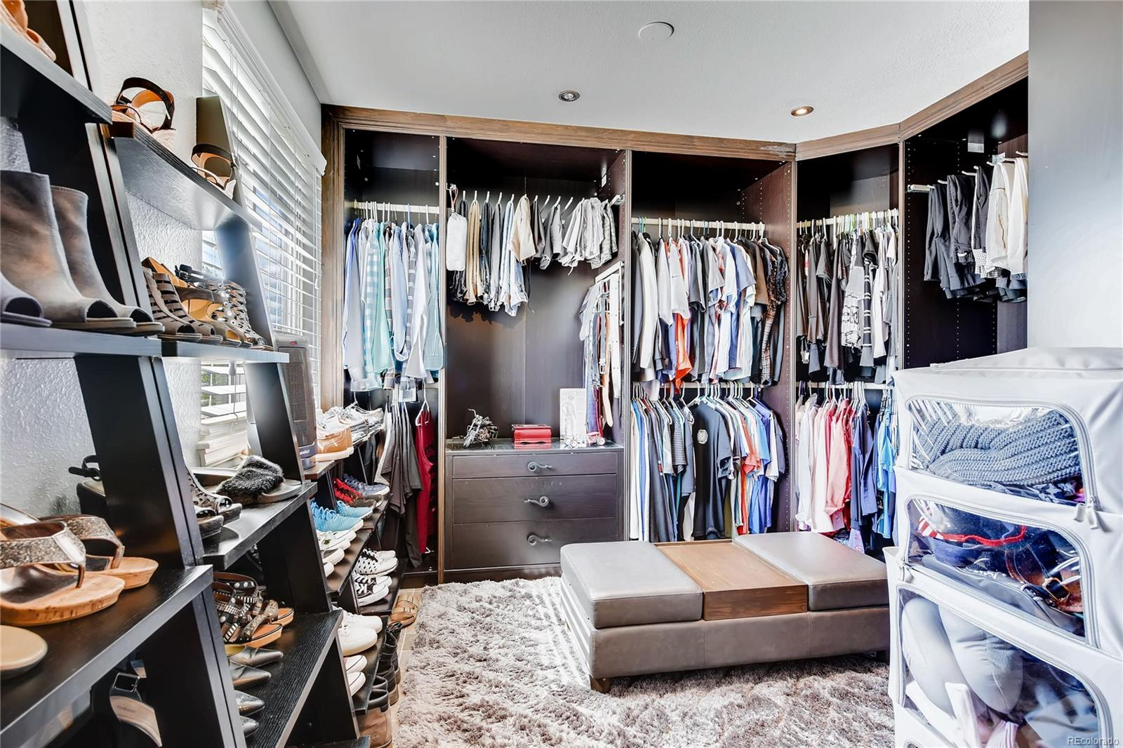 The master closet is a touch from heaven! The professionally installed closet organizers allow you to showcase your wardrobe, shoes and accessories.