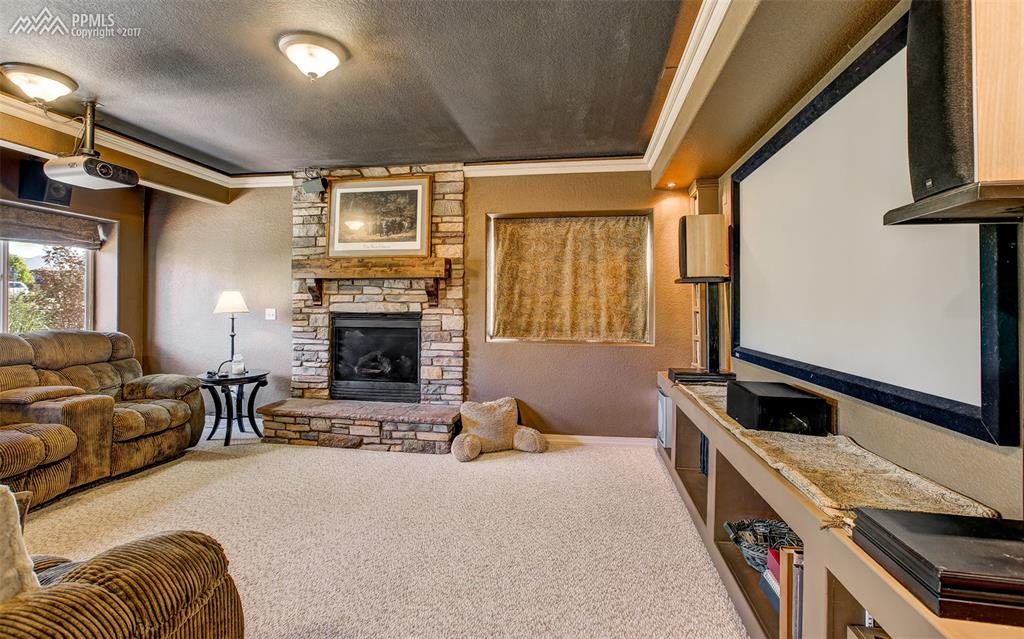 Theater Room W/ Cozy Fireplace & Surround Sound