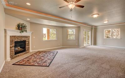 Gas Fireplace, Crown Molding & Rail Lighting
