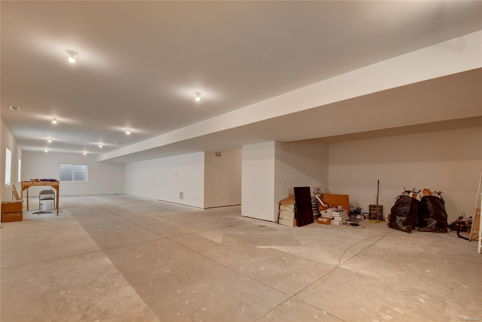 Partially finished basement.