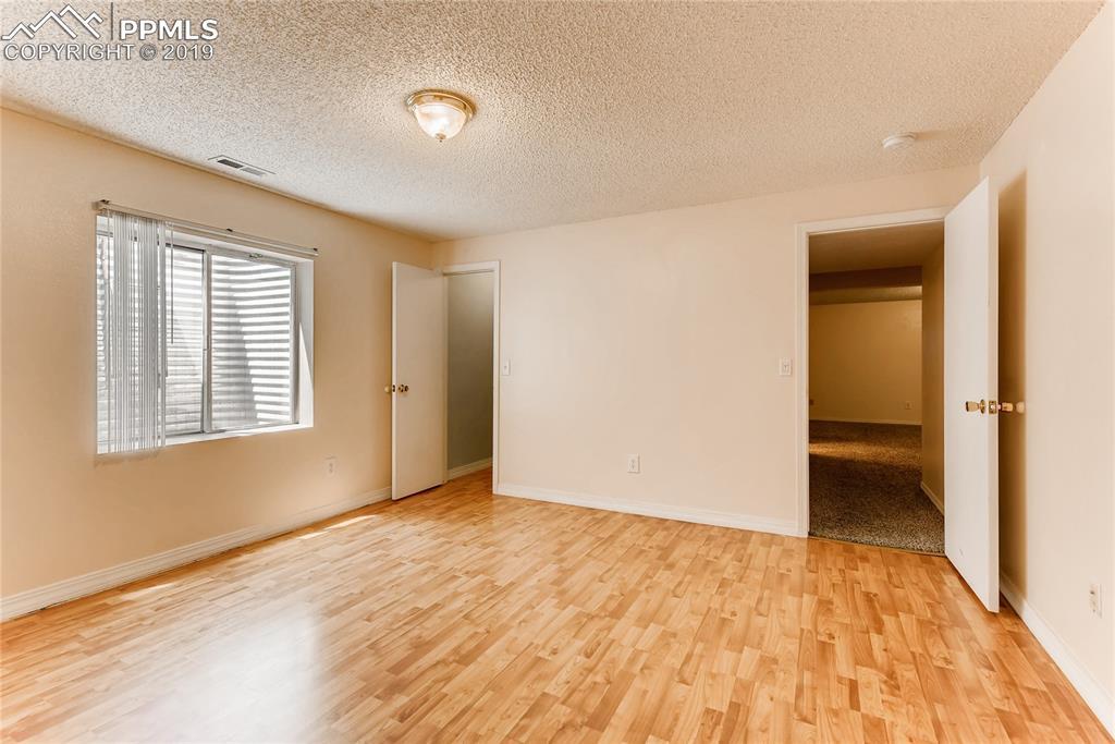 Basement bedroom with walk-in closet.