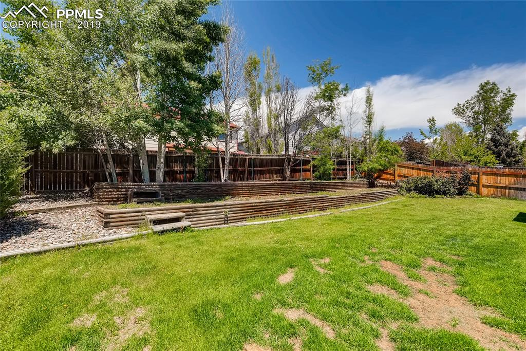 Fully fenced backyard with mature trees/shrubs.