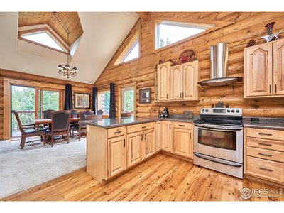 Bright kitchen with many windows/skylights