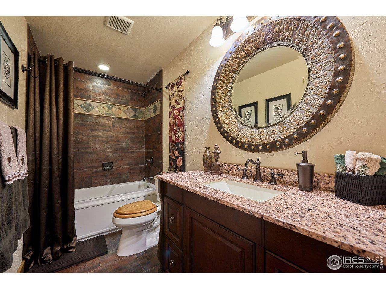 Guest bath with heated floor and granite vanity