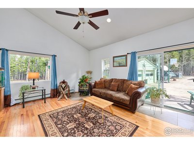 Spacious living room with deck access
