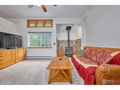 Family room w/ cozy wood stove